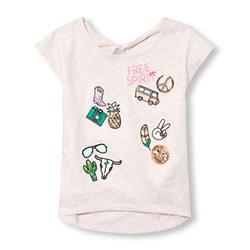 ТОП НА ДЕВОЧКУ Girls Short Sleeve Embellished Graphic Open-Back Top