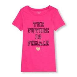ФУТБОЛКА ЖЕНСКАЯ Womens Mommy And Me Short Sleeve 'The Future Is Female' Glitter Heart Graphic Tee CLEARANCE
