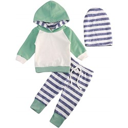 КОМПЛЕКТ НА МАЛЬЧИКА Baby Boys Girls Clothes Long Sleeve Hoodie Tops Sweatsuit Pants Headband Outfits Set 0-24 Months
