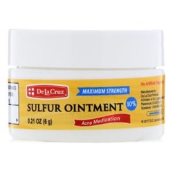 De La Cruz, Sulfur Ointment, Acne Medication, Maximum Strength, 0.21 oz (6 g)