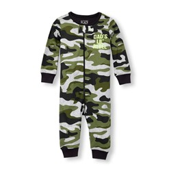 СЛИП НА МАЛЬЧКА Baby And Toddler Boys Long Sleeve 'Dad's Lil Rebel' Camo Printed Stretchie