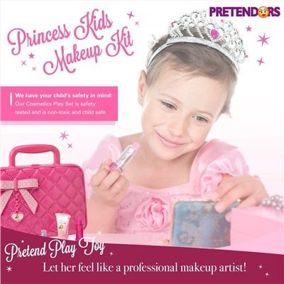 Toysical Kids Play Makeup Kit for Girl with Makeup Remover | Washable & Non Toxic Princess Cosmetic Set with Case | Ideal Gift for Toddlers & Little Girls