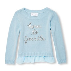 СВИТЕР НА ДЕВОЧКУ Toddler Girls Long Sleeve Sequin 'Born To Sparkle' Faux-Layered Sweater