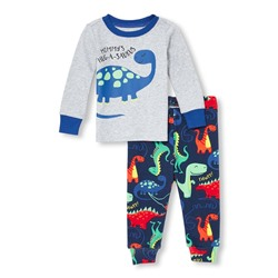 ПИЖАМА ДЕТСКАЯ Baby And Toddler Boys Long Sleeve 'Mommy's Hug-A-Saurus' Dino Top And Pants Snug-Fit PJ Set