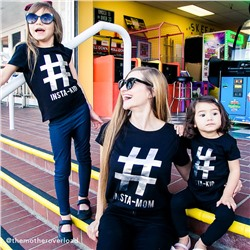 ФУТБОЛКА ЖЕНСКАЯ Womens Mommy And Me Short Sleeve Foil 'Hashtag Insta-Mom' Matching Graphic Tee