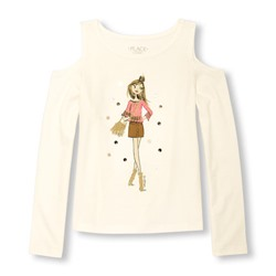 ТОП НА ДЕВОЧКУ Girls Long Sleeve Embellished Graphic Cold-Shoulder Top