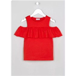 ТОП НА ДЕВОЧКУ Girls Frill Cold Shoulder Top (4-13yrs)