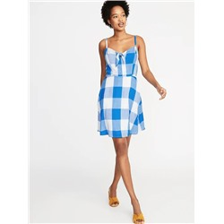 ПЛАТЬЕ ЖЕНСКОЕ Fit & Flare Gingham Cami Dress for Women