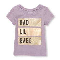 ФУТБОЛКА НА ДЕВОЧКУ Toddler Girls Short Sleeve Glitter Foil 'Rad Lil Babe' Graphic Tee ONLINE EXCLUSIVE