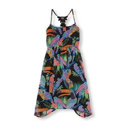 ПЛАТЬЕ НА ДЕВОЧКУ Girls Sleeveless Tropical Bird Print Hanky Hem Dress