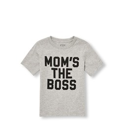 ФУТБОЛКА НА МАЛЬЧИКА Toddler Boys Short Sleeve 'Mom's The Boss' Matching Family Graphic Tee CLEARANCE
