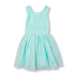 ПЛАТЬЕ НА ДЕВОЧКУ Girls Sleeveless Sequin Mesh Dress
