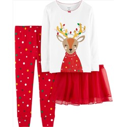 ПИЖАМА НА ДЕВОЧКУ 3-Piece Christmas Reindeer Snug-Fit Cotton PJs