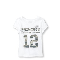 ФУТБОЛКА НА ДЕВОЧКУ ТОДЛЕР Toddler Girls Short Sleeve Camo 'Princess 12' Matching Family Graphic Tee ONLINE EXCLUSIVE
