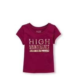 ФУТБОЛКА НА ДЕВОЧКУ Toddler Girls Mommy And Me Short Sleeve Foil 'High Maintenance Like My Mom' Matching Graphic Tee CLEARANCE