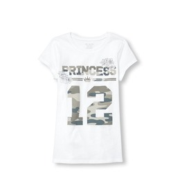 ФУТБОЛКА НА ДЕВОЧКУ Girls Short Sleeve Camo 'Princess 12' Matching Family Graphic Tee ONLINE EXCLUSIVE