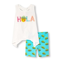 childrensplace КОМПЛЕКТ НА ДЕВОЧКУ Toddler Girls Sleeveless Glitter 'Hola' Shark-Bite Hem Top