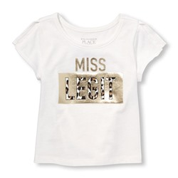 ФУТБОЛКА НА ДЕВОЧКУ Toddler Girls Matchables Short Slit Sleeve Embellished Graphic Top