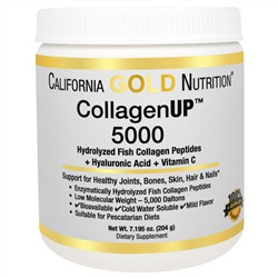 California Gold Nutrition, CollagenUP™ 5000, Marine-Sourced Collagen Peptides + Hyaluronic Acid & Vitamin C, 7,195 унций (204 г)