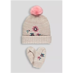 КОМПЛЕКТ НА ДЕВОЧКУ Girls Bobble Hat & Mittens Set (6mths-4yrs)