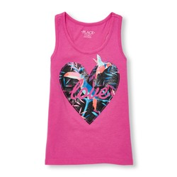 МАЙКА НА ДЕВОЧКУ Girls Matchables Sleeveless Glitter Graphic Racer-Back Top